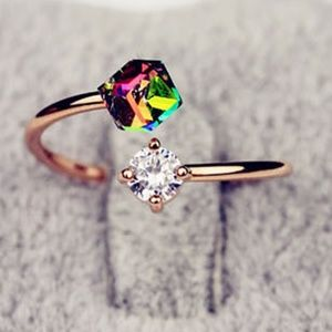 fashion Jewelry - (JUST ARRIVED) Rose Gold Rainbow Glass and CZ Ring
